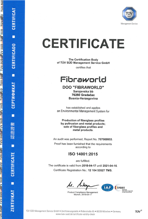 Fibraworld - Preview Certifikat ISO 14001:2015