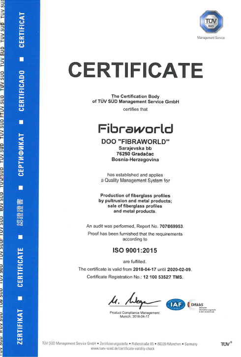 Fibraworld - Preview Certifikat ISO 9001:2015